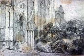 Ruins of a church (drawing) wall mural thumbnail