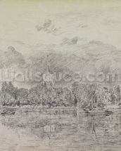 Fulham church from across the River, 1818 (graphite on paper) wall mural thumbnail