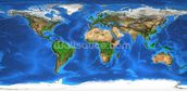 World Map and Landforms wallpaper mural thumbnail