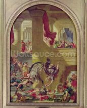 The Expulsion of Heliodorus from the Temple, c.1857 (oil on canvas) wallpaper mural thumbnail