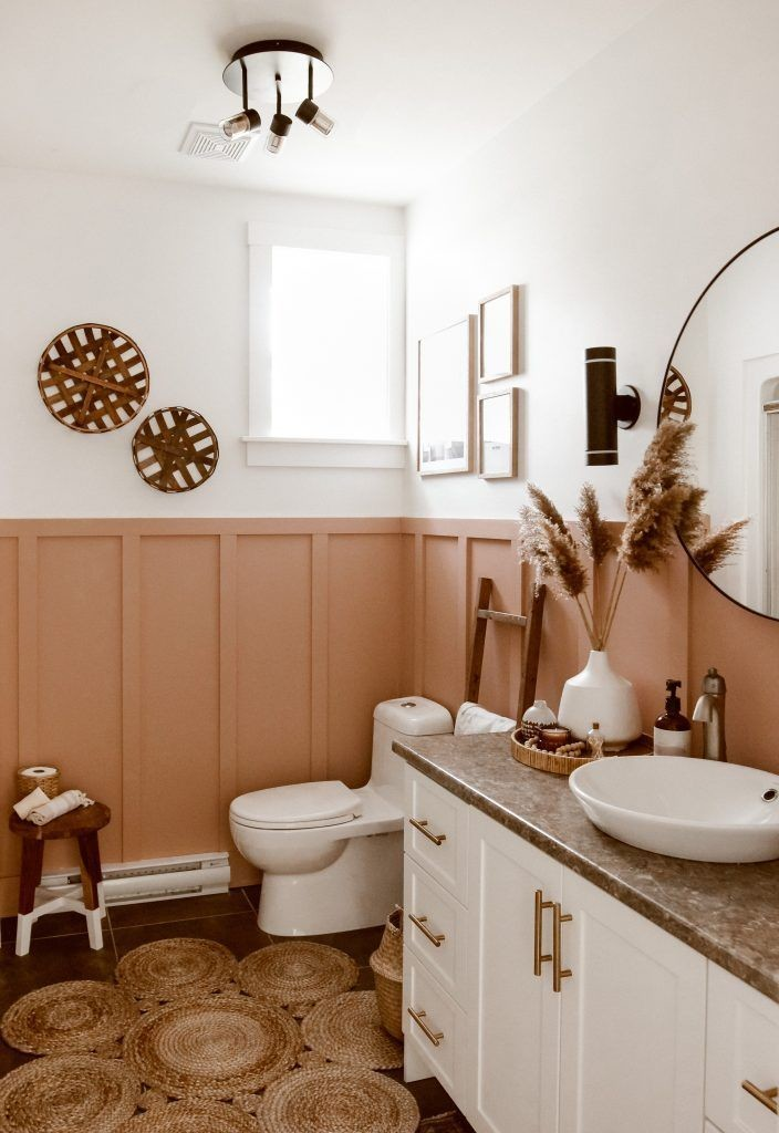 bathroom with white walls and terracotta panelling