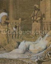 Odalisque with a Slave, 1858 (graphite & wash on paper heightened with white) wallpaper mural thumbnail
