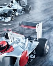 Racing Cars Head to Head mural wallpaper thumbnail