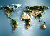 Communications World Map mural wallpaper thumbnail
