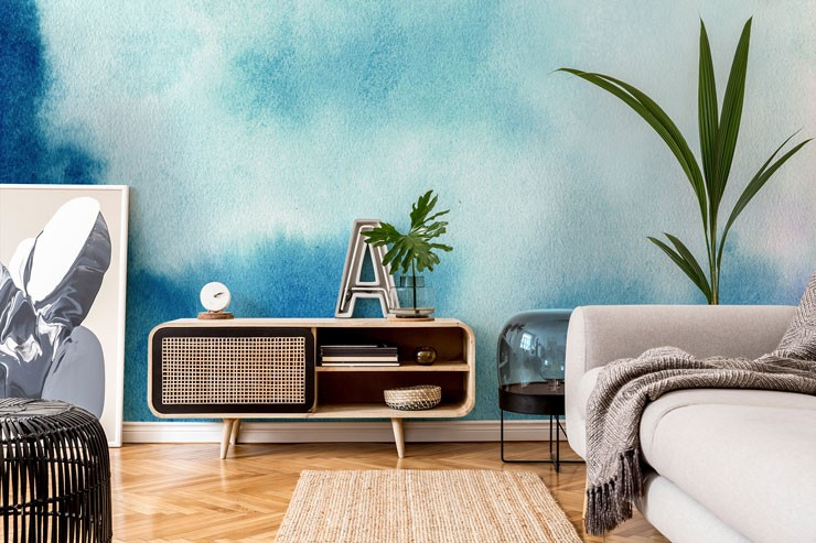 watercolour blue skies wallpaper in cool lounge