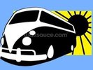 VW Camper Illustration wall mural thumbnail
