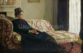 Meditation, or Madame Monet on the Sofa, c.1871 (oil on canvas) wall mural thumbnail
