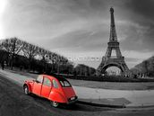 Eiffel Tower and Old Red Citroen wallpaper mural thumbnail