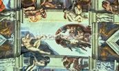 Sistine Chapel Ceiling: Creation of Adam, 1510 (fresco) (post restoration) wallpaper mural thumbnail