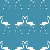White Flamingos wallpaper mural thumbnail