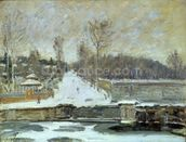 The Watering Place at Marly-le-Roi, 1875 (oil on canvas) wallpaper mural thumbnail