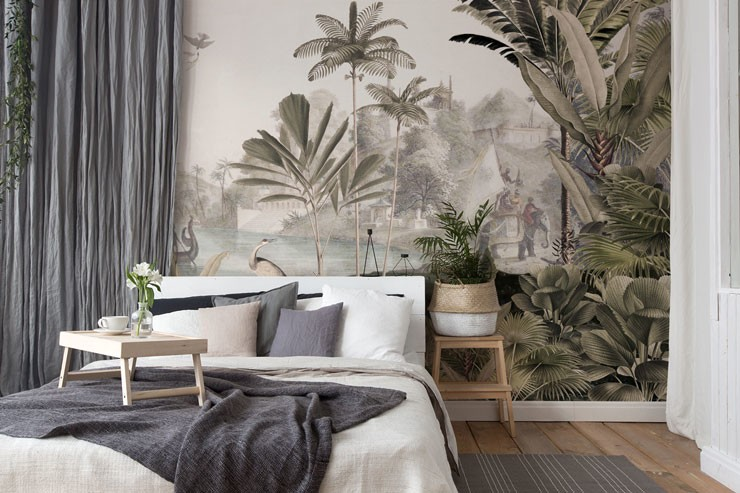 vintage jungle illustration in trendy boho lounge
