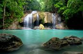 Waterfall in Kanchanaburi, Thailand mural wallpaper thumbnail