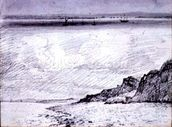 Sheerness; Coast scene near Southend, 1814 (drawing) mural wallpaper thumbnail