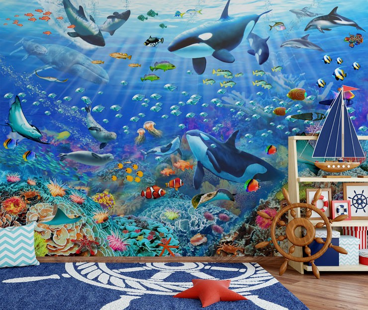 colourful sealife wallpaper in pirate themed room