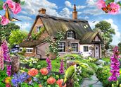 Foxglove cottage mural wallpaper thumbnail