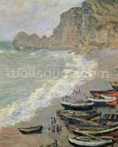Etretat, beach and the Porte dAmont, 1883 (oil on canvas) mural wallpaper thumbnail