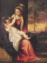 Virgin with Child at Sunset, 1560 (oil on canvas) mural wallpaper thumbnail