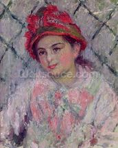 Portrait of Blanche Hoschede (1864-1947) as a Young Girl, c.1880 (oil on canvas) wallpaper mural thumbnail