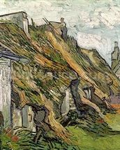 Thatched Cottages in Chaponval, Auvers-sur-Oise, 1890 (oil on canvas) wallpaper mural thumbnail
