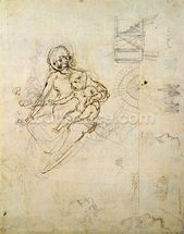 Studies for a Virgin and Child and of Heads in Profile and Machines, c.1478-80 (pencil and ink on paper) mural wallpaper thumbnail