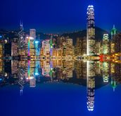 Hong Kong Lights at Night mural wallpaper thumbnail