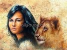 Graffiti - Woman and Lion Cub wall mural thumbnail