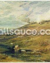 Dartmoor: The Source of the Tamar and the Torridge, c.1813 (w/c & bodycolour over graphite on paper) mural wallpaper thumbnail