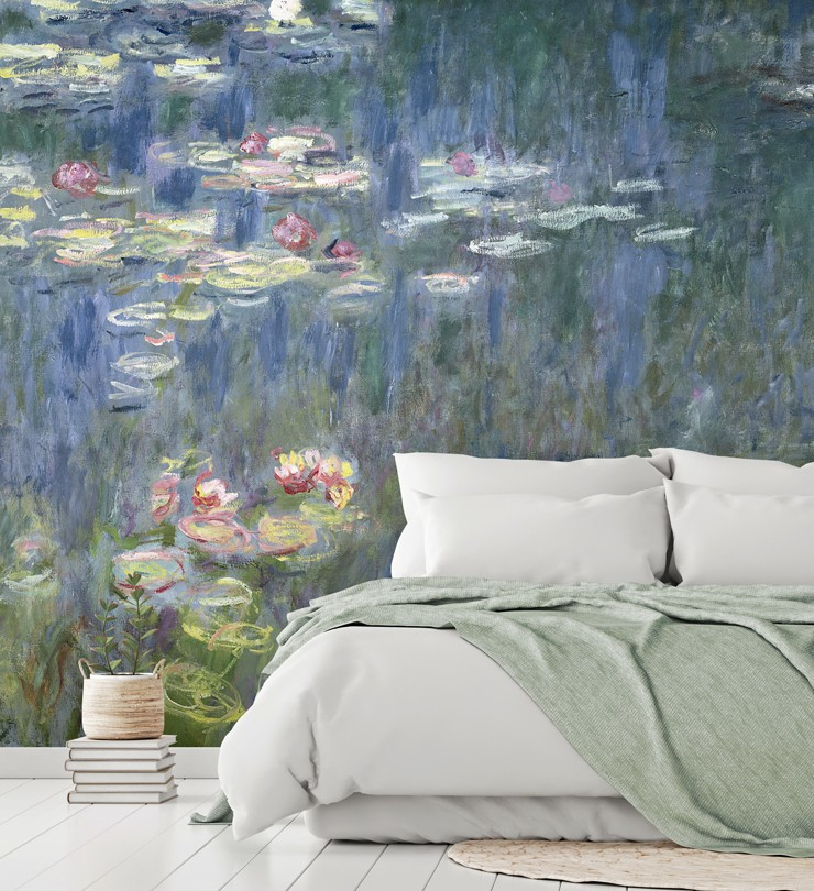 waterlilies green reflections mural in bedroom