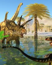 Cretaceous Swamp mural wallpaper thumbnail