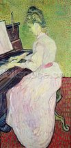 Marguerite Gachet at the Piano, 1890 (oil on canvas) wall mural thumbnail