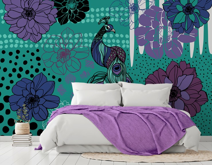 purple peacock wallpaper in teenage bedroom