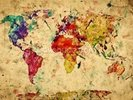Colourful Vintage Map wall mural thumbnail