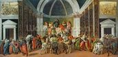 The Story of Virginia, c.1500 (tempera on panel) mural wallpaper thumbnail