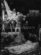 The Descent from the Cross with a Torch, 1654 (etching) (b/w photo) mural wallpaper thumbnail