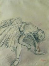 Dancer Fixing her Slipper, c.1865 (charcoal on paper) wall mural thumbnail