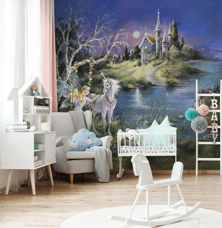 vintage illustration of a fairy on swing next to unicorn with lake and palace in background wallpaper in pastel pink, blue and white nursery