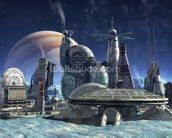 Jupiter Moon Station mural wallpaper thumbnail
