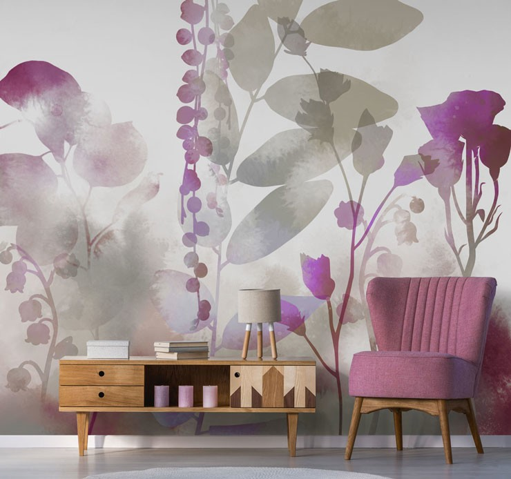 purple floral wallpaper trend in living room
