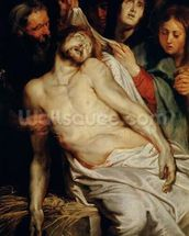 Triptych of Christ on the Straw, centre panel depicting the Lamentation of Christ, c.1618 (oil on panel) mural wallpaper thumbnail