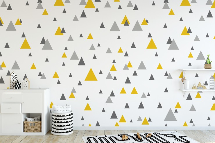 grey and yellow triangles wallpaper in cute nursery