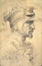 Ideal head of a warrior (black chalk on paper) mural wallpaper thumbnail