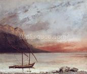Sunset over Lake Leman, 1874 (oil on canvas) wall mural thumbnail