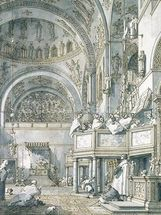 The Choir Singing in St. Marks Basilica, Venice, 1766 (pen, ink and wash on paper) wallpaper mural thumbnail