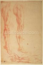 Studies of Legs and Arms (red chalk on paper) wallpaper mural thumbnail