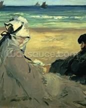 On the Beach, 1873 (oil on canvas) wallpaper mural thumbnail
