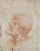 Caricature Head Study of an Old Man, c.1500-05 (red chalk on paper) wallpaper mural thumbnail