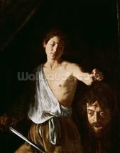 David with the Head of Goliath, 1606 (oil on canvas) (for detail see 100350) mural wallpaper thumbnail