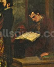 Baudelaire reading a book, detail from The Studio of the Painter, a Real Allegory, 1855 (oil on canvas) (detail of 19190) wall mural thumbnail