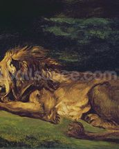 Lion Resting (oil on canvas) wallpaper mural thumbnail